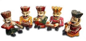 Handmadeo artize Rajasthani Musician Set Of 5 Showpiece , wooden handicraft , rajasthai bawla sets ,home decor