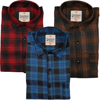 Spain Style Cotton Blend Checks Regular Collar Slim Fit Casual Shirts For Men Pack of 3