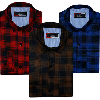 Spain Style Multicolor Cotton Blend Checks Regular Collar Slim Fit Casual Shirt Pack Of 3