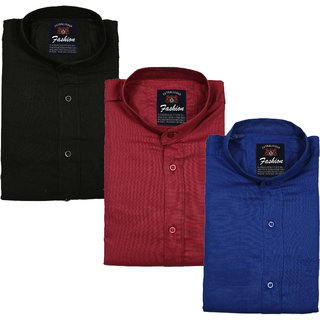 Spain Style Multicolor Plain Cotton Blend Slim Fit Casual Shirts For Men Pack Of 3