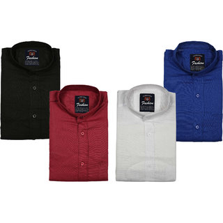 Spain Style CHINESE Collar Casual Slim fit Shirts (Pack Of 4)