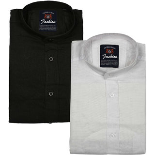 Spain Style CHINESE Collar Casual Slim fit Shirts (Pack Of 2)