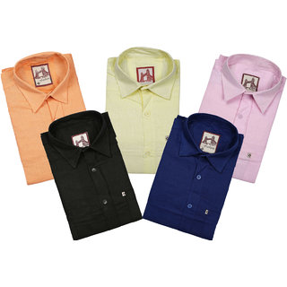 Spain Style Solid Regular Fit Casual Shirts For Men's Pack of 5