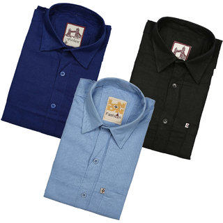 Spain Style Solid Regular Fit Casual Shirts For Men's Pack of 3