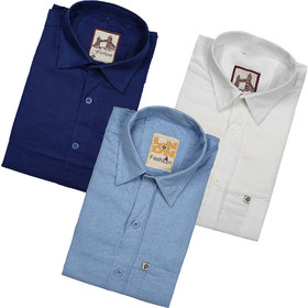 Spain Style Multicolor Plain Cotton Blend Regular Collar Fit Casual Shirts For Men Pack of 3