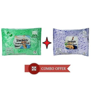 Om Bed Bath Towel And Shampoo Towel Cleansing  Refreshing Wipes - (Pack Of 2) Total 20 Towel