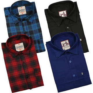 Spain Style Men's  Multicolor Regular Fit Casual Shirt (Pack of 4)