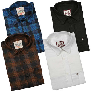 Spain Style Stylish Fit Casual Shirts For Men's Pack of 4