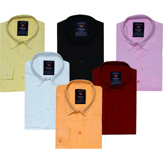 Spain Style Solid Slim Fit Casual Shirts For Men's Pack of 6