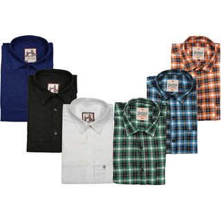 Spain Style Check+ Plain Slim Fit Casual Shirts For Men's Pack of 6