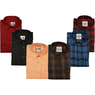 Spain Style Men's Multicolor Check & Plain Regular Fit Casual Shirts (Pack of 6)