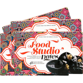 Food Studio Premium Quality Hand Picked Selected Dates Pack of 6 (650 gm Each,48 Pieces Each)