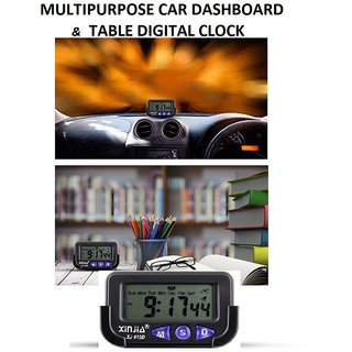 Multipurpose Digital Clock Alarm Stopwatch for Car Dashboard / Study Table / Office / Home