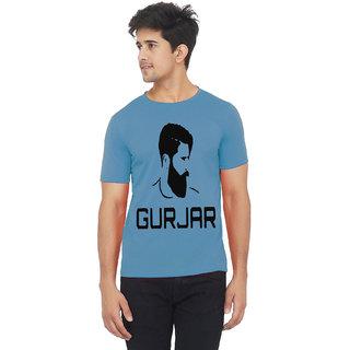 Blue color half sleeve gurjar printed tshirt