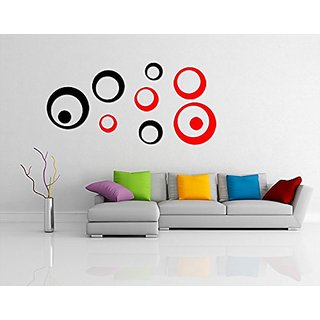 Incredible Gifts 3D Wall Stickers Decor for Modern Wall Art(Black and Red  10 pcs)