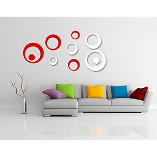 Incredible Gifts 3D Wall Decor Stickers for Home and Office(Red and White  10 pcs) Acrylic
