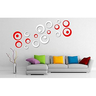 Incredible Gifts Wall Decor 3d Stickers for Home Decor Ideas(Red and White  20 pcs)