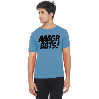 Blue color half sleeve aagh bats printed tshirt
