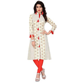 FASHION CARE Present cotton kurti for women's (speciality printed  long pattern knee length white color kurti length is