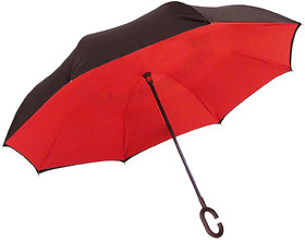 Style Homez Innovative Double Layer UV Coated Inverted Reversible Large Black Umbrella, 125 cm Cadet Red Color