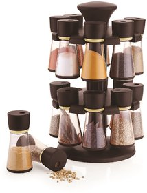 HARDI ENTERPRISE 16-Jar Brown Revolving Masala/Spice Rack