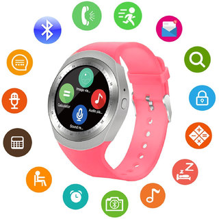 JM Y1 Pink Silver Analog Digital Smart Watch with Call Function