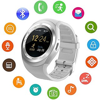 JM Y1 White Silver Analog Digital Smart Watch with Call Function