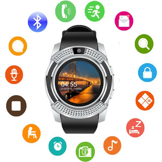 JM V8 Silver Analog Digital Smart Watch with Call Function