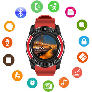 JM V8 Red Black Analog Digital Smart Watch with Call Function