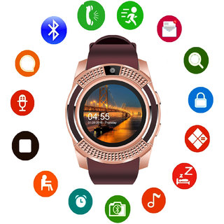 JM V8 Brown Rose Gold Analog Digital Smart Watch with Call Function