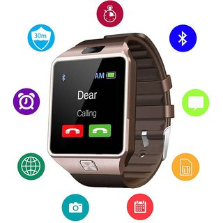 JM DZ09 Brown Analog Digital Smart Watch with Call Function