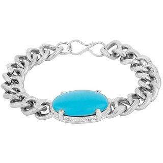 29K Turquoise Silver Alloy Bracelet for Men