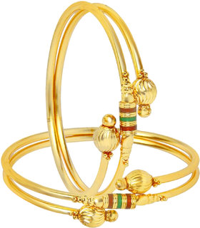 Shostopper Traditional  Gold Plated Bangle Set for Women