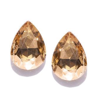 Jewels Galaxy Sparkling Beige Oval Shape Wonderful Geometrical Crystal Contemporary Stud Earrings For Women/Girls