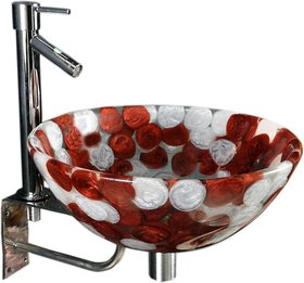 Joyo Cera Burgundy  White Resin Wash Basin with Stand,Extantion Body Pillar Tap  Brass Waste Coupling (Model Joyo Cer