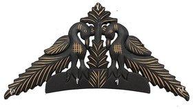 Desi Karigar Wooden Black Peacock Design Wall Hanging Key Holder