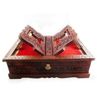 Buy Desi Karigar Book Stand Cum Holder Box Brown Wood Handicrafts