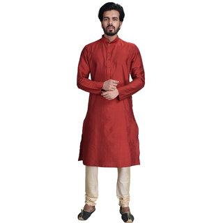 Anil Kumar Ajit Kumar Men's Brown Cotton Silk Kurta Pyjama Set