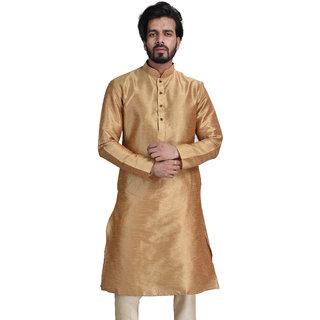 Anil Kumar Ajit Kumar Men's Golden Cotton Silk Kurta Pyjama Set