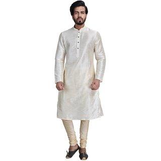 Anil Kumar Ajit Kumar Men's Grey Cotton Silk Kurta Pyjama Set