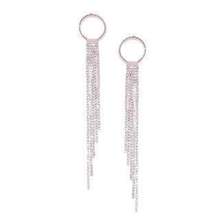Jewels Galaxy Exquisite AAA Zircon 18K Rose Gold Plated Glistening Long Drop Earrings For Women/Girls
