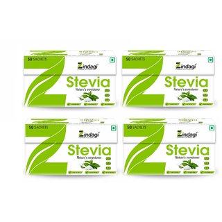 Zndagi Stevia Sachets - Sugarfree Stevia Powder - Natural Stevia Sweetener (Pack Of 4)
