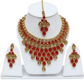 Lucky Jewellery Elegant LCT Golden Red Color Stone Necklace Set For Girls  Women
