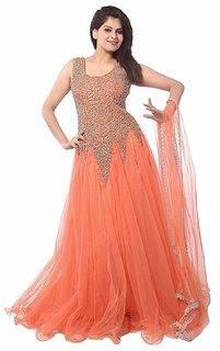 Florence Women's Orange Net Party Wear Gown