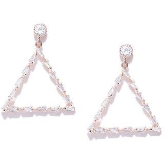 Jewels Galaxy Luxuria Exclusive Artistic Trigonal Design Crystal 18K Rose Gold Plated Plushy Drop Earrings For Women/Gir