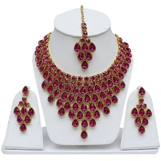 Lucky Jewellery Elegant Magenta Color Stone Necklace Set For Girls & Women