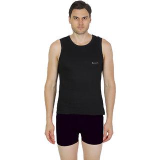 Mens Black Color Gym Vest - 100% Cotton - Size S (Small) 70 to 75 cm - Single Pcs Baniyan by Semantic