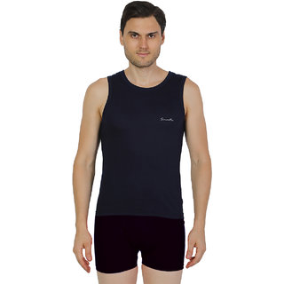 Mens Navy Blue Color Gym Vest - 100% Cotton - Size S (Small) 70 to 75 cm - Single Pcs Baniyan by Semantic