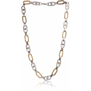 Sanaa Creations Stainless Steel Silver and Gold Plated Stylish Rhodium Plated Mens Chain Thickness Dual Tone Plain Classic Design Wheat Link Gold Silver Stainless Steel Necklace Chain