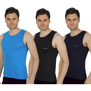 Pack of 3 - Mens Black, Navy Blue & Royal Blue Color Gym Vest - 100% Cotton - Size S (Small) 70 to 75 cm - Baniyan by Semantic